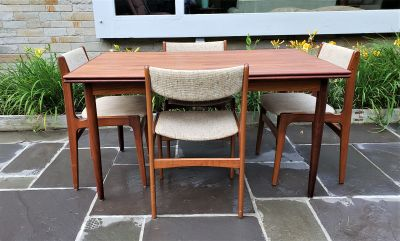 Danish Teak Dining Table and Chairs by D-Scan