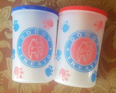 Set of two dog treat containers