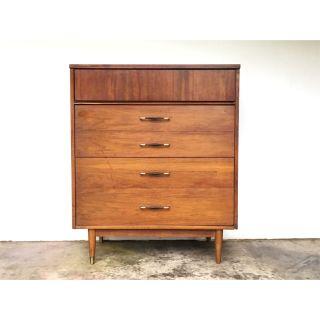 Bassett Mid Century 4 Drawer Tall Dresser