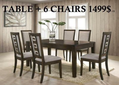table and 6 chairs grey