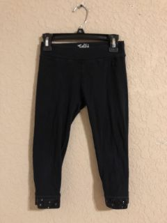 Justice Brand Black Capris Leggings Pants With Sequence Trim. Nice Condition. Size 8