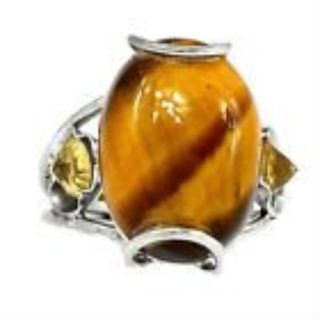 New - Tiger Eye and Yellow Citrine 925 Sterling Silver Ring - Size 6 1/2