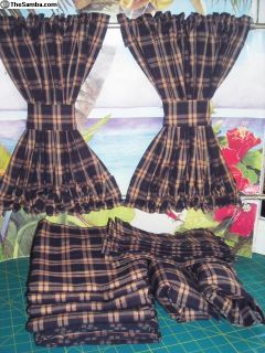 VW Navy Blue Plaid Curtains with Cabin Divider Set