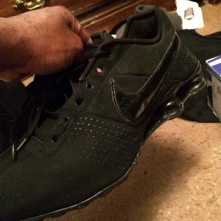 Black leather suede Nike shock shoes