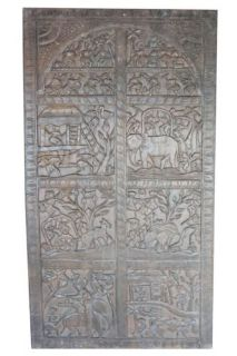 Vintage Wall Art Barn Door Schedule Tribal Carved Ancient Wall Relief Panel 72
