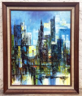 Mid century impressionistic cityscape oil painting