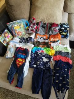 Baby boy clothes and extras -- read all