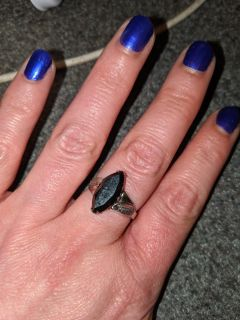 Sterling Silver and Onyx Ring size 7