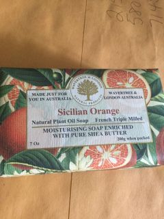 Sicilian orange soup made in Australia full-size heavy bar smells really good new in package