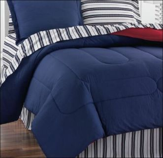 Fiarfield Square Navy Yard PILLOW SHAM Bedding Stripe Blue Red Reversible