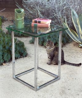 1970's chrome and glass end table