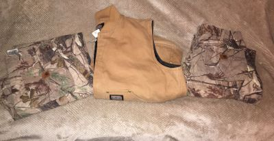 Carhartt Camo 2-Pair Of Pants and Big Smith Insulated Vest Lot