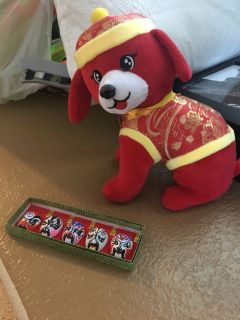 Chinese puppy plush and ceramic mask accent pieces - New