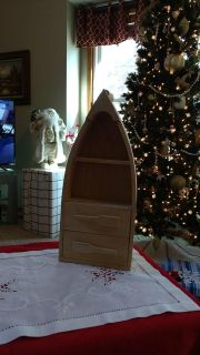 """14 1/2"""" Wooden Boat Shelf - Unfinished Wood - Has Hook To Hang, Or It Can Sit"""