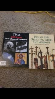2 books ( time 100 ideas that changed the world, Indian and oriental arms and armour)