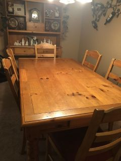 Two Piece Hutch and Table with Six Chairs