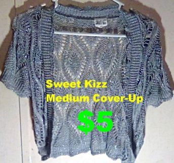 Juniors Medium Sweet Kizz Gray Sparkle Cover-Up (SHAW). IN PERFECT CONDITION