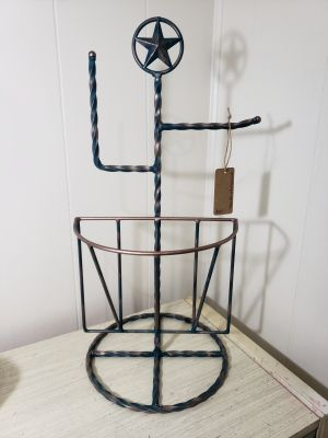 Handpainted Texas star toilet paper holder