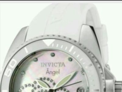 Invicta Women's Angel White Crystals White Rubber