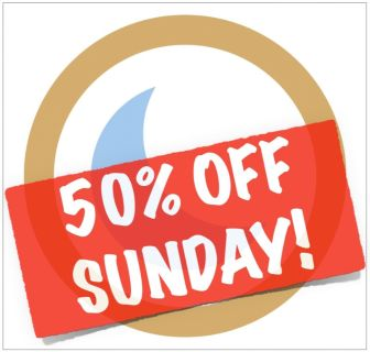 50% OFF SUNDAY!!! Blue Moon Sale in..