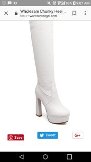 White thigh high boots size 39 NEW
