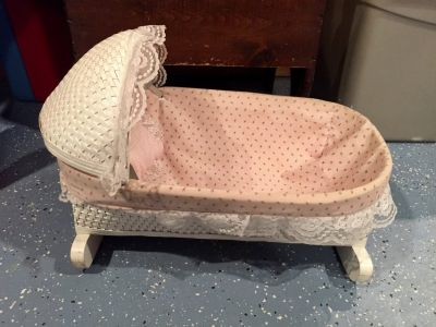 Vintage White Wicker Doll Bassinet Cradle with Hood