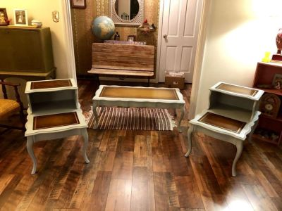 Refinished Mid Century Coffee and End Table Set