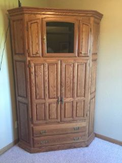 Oak armoire closet cabinet office tv television