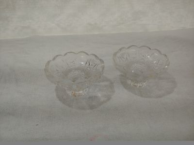 2 glass taper candle holders