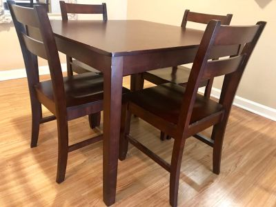 Square Wooden Table with 4 Chairs