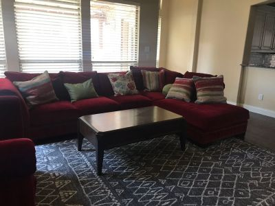 Red Cindy Crawford sectional couch set
