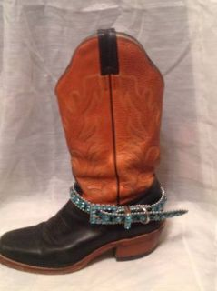 Blue crystal ankle belts for boots