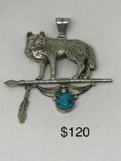 LARGE SIGNED NAVAJO WOLF PENDANT