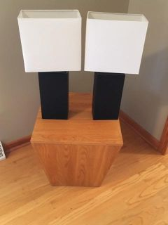 BRAND NEW Black leather covered table lamps (2)