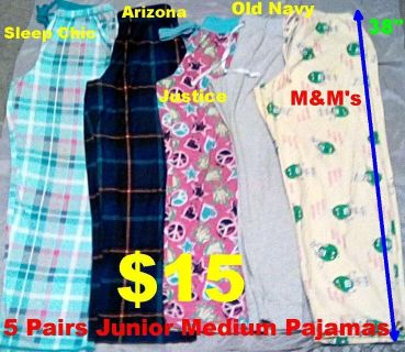 5 Pairs of Girls Junior Medium Pajama Pants. All IN PERFECT CONDITION. See Picture for Brand Name