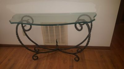 Glass top metal base side table