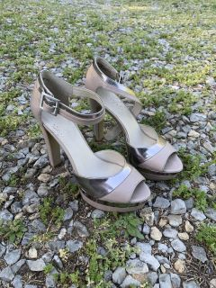 Tan and silver heels by Nine West size 5.5