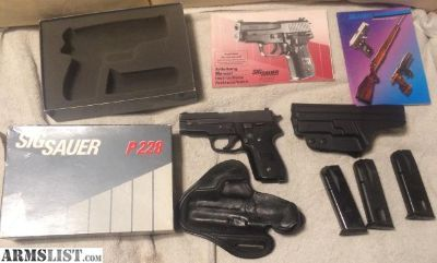 For Sale: Sig P228 West German 9mm with 3 Mags 2 holsters in box