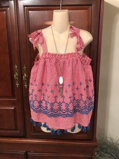 15.00 NWT Crown & Ivy red a white gingham tank with blue details and tassels. Retails 65.50