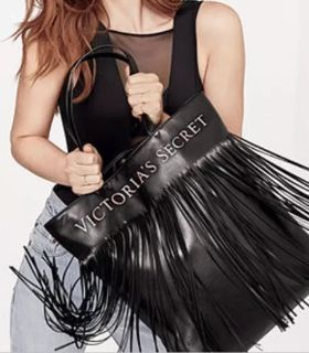Brand New Victoria's Secret Black Flirty Fringe Tote Bag Shopper Purse