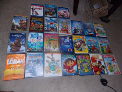 24 Kids DVD'S Some Disney Some Sealed Some Blue Ray