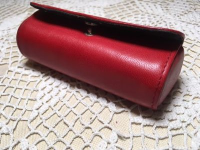 Lipstick Case with Mirror Leather Red Snaps Closed Never Used