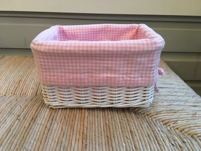 3 Pottery Barn Kids White Wicker Sabrina Baskets with Pink Liners