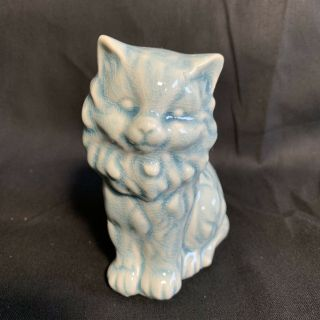 Blue White Vintage Cat Figurine with Crazing