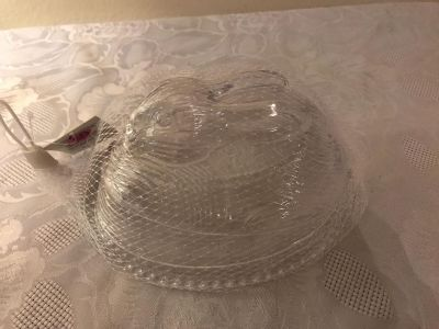 Plastic Rabbit Covered Candy Dish 7 x5 . New With Tag