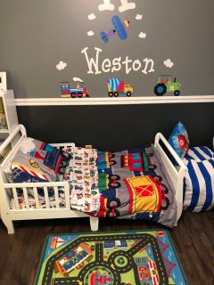 Toddler Bed with Bedding and mattress