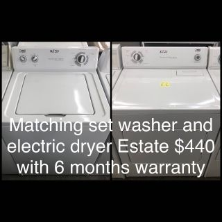 Comes with free 6 Months Warranty-like new matching set washer and electric dryer Estate