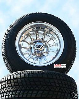 Purchase Golf CART WHEEL AND TIRE Polished SHINY Combo Free Lugs Center Caps Set Of 4 motorcycle in Evansville, Indiana, US, for US $47.00
