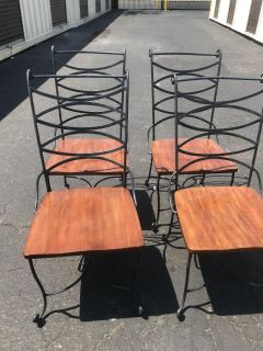 Wrought iron set of 4 chairs