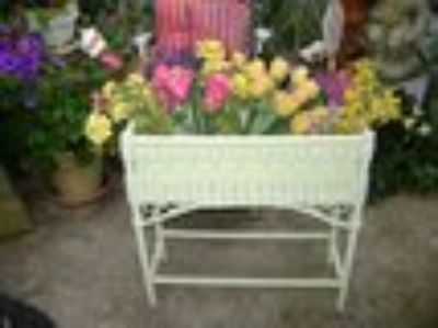 vintage apple green wicker plant stand